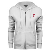 ENZA Ladies White Fleece Full Zip Hoodie-Vintage T
