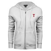 ENZA Ladies White Fleece Full Zip Hoodie-Vintage T