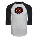 White/Black Raglan Baseball T-Shirt-Owl Head