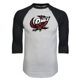 White/Black Raglan Baseball T-Shirt-Swooping Owl