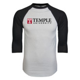 White/Black Raglan Baseball T-Shirt-University Mark