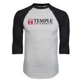 White/Black Raglan Baseball T-Shirt-University Mark