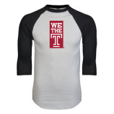 White/Black Raglan Baseball T-Shirt-We The T Vertical