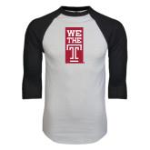 White/Black Raglan Baseball T-Shirt-We The T Vertical
