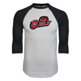 White/Black Raglan Baseball T-Shirt-Owls w/Owl Head