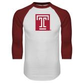 White/Cardinal Raglan Baseball T Shirt-Box T