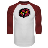 White/Cardinal Raglan Baseball T Shirt-Owl Head