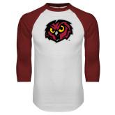 White/Cardinal Raglan Baseball T Shirt-Owl Head