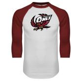 White/Cardinal Raglan Baseball T Shirt-Swooping Owl