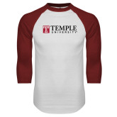 White/Cardinal Raglan Baseball T Shirt-University Mark