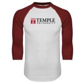 White/Cardinal Raglan Baseball T Shirt-University Mark
