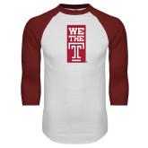 White/Cardinal Raglan Baseball T Shirt-We The T Vertical
