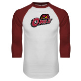 White/Cardinal Raglan Baseball T Shirt-Owls w/Owl Head