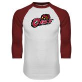 White/Cardinal Raglan Baseball T Shirt-Owls w/Owl Head