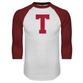 White/Cardinal Raglan Baseball T Shirt-Vintage T