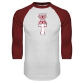 White/Cardinal Raglan Baseball T Shirt-Vintage Owl Atop T