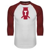 White/Cardinal Raglan Baseball T Shirt-Perched Owl T