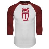 White/Cardinal Raglan Baseball T Shirt-Vintage Owl TU Stacked