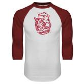 White/Cardinal Raglan Baseball T Shirt-Vintage Owl Head