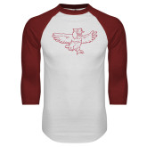 White/Cardinal Raglan Baseball T Shirt-Vintage Full Body Owl