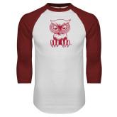 White/Cardinal Raglan Baseball T Shirt-Sitting Owl