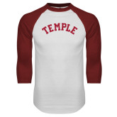 White/Cardinal Raglan Baseball T Shirt-Arched Temple