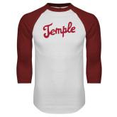White/Cardinal Raglan Baseball T Shirt-Temple Script