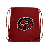 Nylon Cardinal Drawstring Backpack-Owl Head