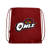 Nylon Cardinal Drawstring Backpack-Owls w/Owl Head