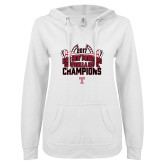 ENZA Ladies White V Notch Raw Edge Fleece Hoodie-Bad Boy Mowers Gasparilla Bowl Champions - Stadium