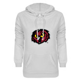 ENZA Ladies White V Notch Raw Edge Fleece Hoodie-Owl Head