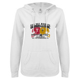ENZA Ladies White V Notch Raw Edge Fleece Hoodie-Bad Boy Mowers Gasparilla Bowl - VS Design