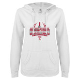 ENZA Ladies White V Notch Raw Edge Fleece Hoodie-Bad Boy Mowers Gasparilla Bowl Champions - Gradient