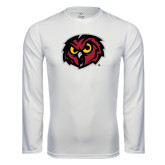 Performance White Longsleeve Shirt-Owl Head