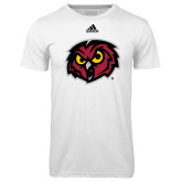Adidas Climalite White Ultimate Performance Tee-Owl Head