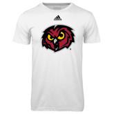 Adidas Climalite White Ultimate Performance Tee-Owl Head