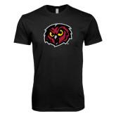 Next Level SoftStyle Black T Shirt-Owl Head