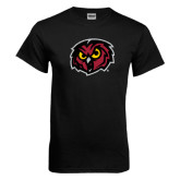 Black T Shirt-Owl Head Distressed