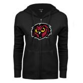 ENZA Ladies Black Fleece Full Zip Hoodie-Owl Head