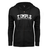 ENZA Ladies Black Fleece Full Zip Hoodie-Arched Temple University