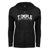 ENZA Ladies Black Fleece Full Zip Hoodie-Arched Temple University