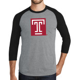Grey/Black Tri Blend Baseball Raglan-Box T