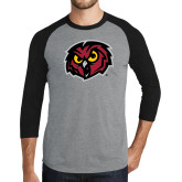 Grey/Black Tri Blend Baseball Raglan-Owl Head