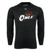 Under Armour Black Long Sleeve Tech Tee-Owls w/Owl Head