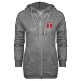 ENZA Ladies Grey/Black Marled Full Zip Hoodie-Box T