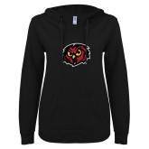 ENZA Ladies Black V Notch Raw Edge Fleece Hoodie-Owl Head