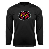 Syntrel Performance Black Longsleeve Shirt-Owl Head