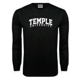 Black Long Sleeve TShirt-Arched Temple University