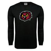 Black Long Sleeve TShirt-Owl Head Distressed