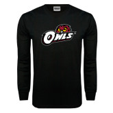 Black Long Sleeve TShirt-Owls w/Owl Head